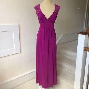 BCBGMAXAZRIA Maxi Dress w Crochet Back & Tie Waist
